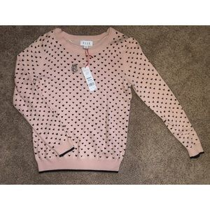 Pink with black hearts sweater